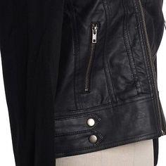 Women Fleece Sleeve & Hooded Motorcycle Biker PU Faux Leather Bomber Jacket