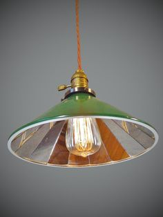 Vintage Industrial Pendant Lamp w/ Mirrored Cone by DWVintage