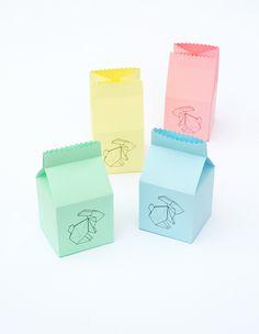 Free Printable: Easter origami bunny treat box