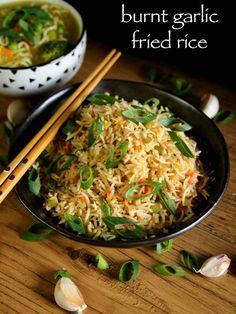 burnt garlic fried rice recipe, burnt garlic rice, burnt garlic veg fried rice with step by step photo/video. Vegetarian Rice Recipes, Veg Recipes, Lunch Recipes, Indian Food Recipes, Asian Recipes, Cooking Recipes, Healthy Recipes, Chinese Recipes, Chinese Food
