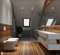Modern bathroom with wood floor Loft Bathroom, Wooden Bathroom, Chic Bathrooms, Bathroom Toilets, Bathroom Interior, Small Bathroom, Bad Inspiration, Bathroom Inspiration, Contemporary Bathroom Lighting