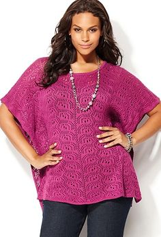 Pink crochet poncho sweater. other color: grey