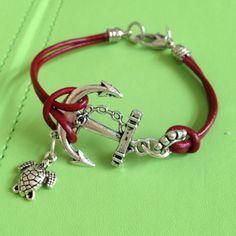 Anchor and Turtle Leather Bracelet by joytoyou41 on Etsy, $25.00