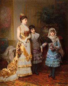 By Auguste Hadamard Victorian Portraits, Victorian Paintings, Vintage Family Pictures, Fashion Forms, 19th Century Fashion, Amazing Paintings, Beautiful Costumes, Victorian Women, Detail Art