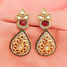 Drop Dangler Gold Plated AD CZ Red Green Traditional Bollywood Ethnic Earrings #DesaiJewellers #DropDangle