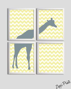 Nursery Boy Art Chevron Yellow Grayl Giraffe set of by ZeppiPrints, $48.00