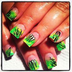 Monster energy drink nails free handed art