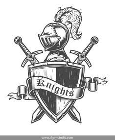 Vintage knight emblem with knight helmet, crossed swords, shield and. Shield Drawing, Helmet Drawing, Sword Drawing, Knight Shield, Knight Sword, Knight Drawing, Knight Art, Shield Tattoo, School Shirt Designs