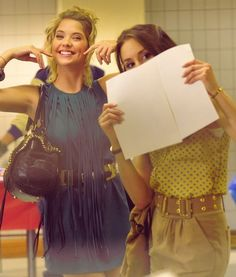 Ashley Benson (Hanna) and Troian Bellisario (Spencer) behind the scenes of Pretty Little Liars. #PLL