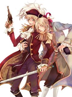 Arthur and Francis. Okay, I'm cringing just a bit at the weapons anachronism (they're in 18th century dress, and Arthur's got what looks like a 19th century Colt revolver or something), but otherwise, this looks great. - Art by たま/一日目A13b