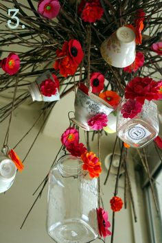 Humm..... using Teacups , teapots to hang for an Alice in Wonderland or Mad hatter theme could be really fun