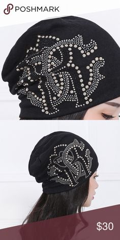 New Hat with luxury style rhinestone bead Condition:New without tags Size:One Size Material:100% CottonStyle:Beanie Theme:Letter (Roberto Cavalli Mark) Outdoor winter/spring hat Good for girl and women Accessories Hats