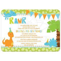Boy's dinosaur birthday party invitations