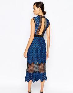 Self Portrait Scallop High Neck Midi Dress, gorgeous back, would chop at tea length. $335 asos.com
