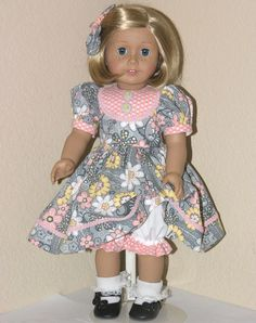 Handmade American Girl Doll Clothes 18 inch Dress Gray Floral - Exclusively Linda Doll Clothes
