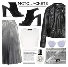 """""""After Dark: Moto Jackets"""" by lauren-intan ❤ liked on Polyvore featuring Zara, Miss Selfridge, BCBGMAXAZRIA, Christian Dior, Michael Kors and Diptyque"""