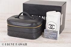 CHANEL Black Leather Diamond Stitches Vanity Cosmetic Bag