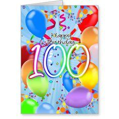100th Birthday - Balloon Birthday Card - Happy Bir 100th Birthday - Balloon Birthday Card - Happy Birthday Balloons...read more