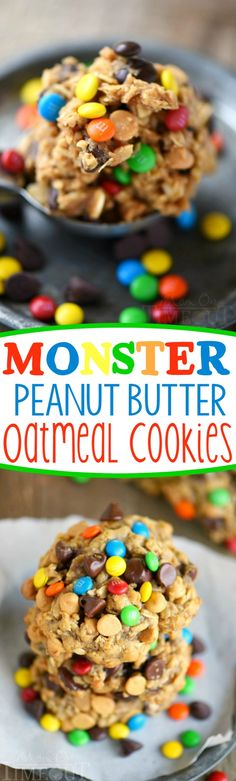These Monster Peanut Butter Oatmeal Cookies have it ALL! Each bite is filled with chewy oats, peanut butter, chocolate chips and M&M's! Truly the perfect cookie! | Mom On Timeout: