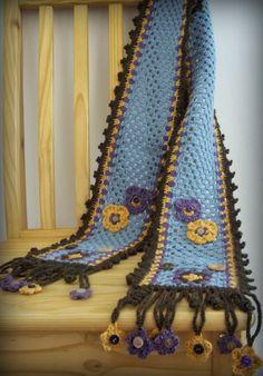 Zooty Owl's Crafty Blog: Flower Granny Stripe Scarves