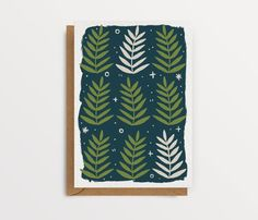 Navy and Green Botanical Greeting Card Rowan Leaf Card | Etsy Birthday Greeting Cards, Happy Birthday Cards, Birthday Greetings, Greeting Cards Handmade, Leaf Cards, Colour Field, How To Start Knitting, Navy And Green, Rowan