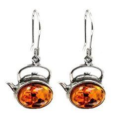 Amber sterling teapot earrings? Love!