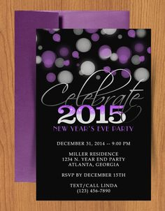 upate 2017 purple and silver diy printable nye party invitation click on the link to get the new template just download edit and print from home