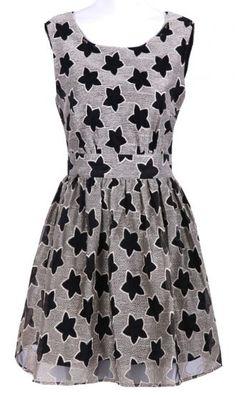 #SheInside Black Sleeveless Stars Print Chiffon Dress