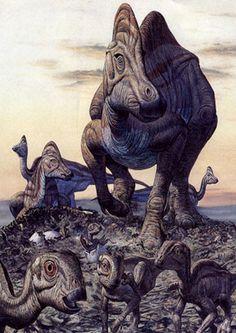 Hypacrosaurus, art by Mark Hallett