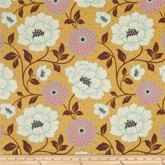 Joel Dewberry Bungalow Home Decor Sateen Dahlia Honey from @fabricdotcom  Designed by Joel Dewberry for Free Spirit Fabrics, this fabric is screen printed on medium weight (6.5 oz per square yard) cotton sateen and is perfect for everything from skirts and pants to pillows and duvets.