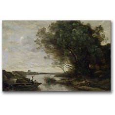 Trademark Fine Art River Landscape Canvas Wall Art by Jean Baptiste Corot, Size: 16 x 24, Multicolor