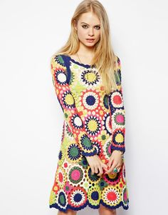ASOS Dress in Multi Color Crochet