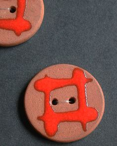 Set of 8 terracotta buttons with two holes by BJMackinnonjewellery