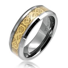 http://103rdavenue.com/bling-jewelry-tungsten-8-mm-comfort-fit-flat-wedding-band-ring-celtic-dragon-gold-inlay/ No symbols can match the power of Celtic dragons. This Quality Tungsten Ring is Cobalt Free to avoid allergies and it has the Carbide to make it Scratch Resistant. The Finish is Outstanding and very importantly it's Comfort Fit. The Sizing is Excellent, we carry sizes 10 - 13
