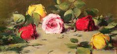 """Roses"" Robert Johnson 8"" x 16"" Oil #roses #rose #flowers #valentine #pink #red #yellow #art #artwork #artist #paint #painting #painter #fineart #oil #oilpainting #florist #romantic #braziergallery #robertjohnson"