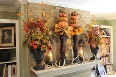 fall wreaths for front door | For more photos of the mantle see my post Masculine Autumn Mantle )