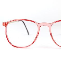 Round Pink Horn Rim Eyeglasses Frames Vintage 1970s by thenovelty