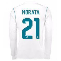 Real Madrid Alvaro Morata 21 Koszulka Podstawowych 2017-2018 Długi Rękaw