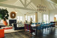 I love the white vaulted plank ceiling and the medium tone wood floor.