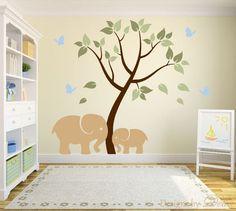 Nursery Decal with Beautiful Tree and Cute Elephants
