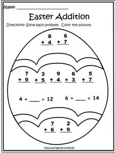 Kids can count, add, and graph Easter eggs in this printable math worksheet. They can also find and color eggs in a cute picture of a bunny on an Easter egg . First Grade Freebies, First Grade Teachers, First Grade Math, Kindergarten Math Worksheets, Teaching Math, Math Activities, Math Literacy, Math Resources, Classroom Freebies