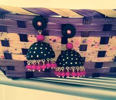 Handmade polymer clay jhumka/ jhumki earrings black by Vibgyour, $25.00