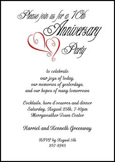 Finding the right wedding anniversary invitation wording your customized party invitations for red hearts milestone wedding anniversary presently discounted to 99 per invite with anniversary wording samples filmwisefo