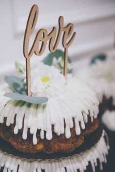 Bundt wedding cake with love topper
