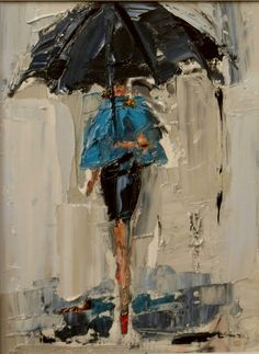 """daily painters of atlanta: """"Dancing in the Rain by Kathryn Morris Trotter Art Amour, Art Texture, Rain Art, Umbrella Art, Daily Painters, Dancing In The Rain, Art Design, Art And Illustration, Painting & Drawing"""