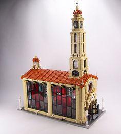 LEGO Church – ArchBrick Daily Casa Medieval Minecraft, Casa Lego, Lego Winter, Lego Ship, Star Wars Vehicles, Lego Construction, Lego Military, Lego Modular, Cool Lego Creations