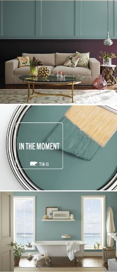 In the Moment, a neutral blue green, is Behr's 2018 Color of the Year pick. Interior Paint Colors, Paint Colors For Home, Home Interior Design, Interior Sketch, Interior Plants, Classic Interior, Cafe Interior, Room Colors, House Colors