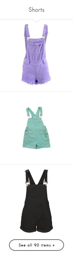 """""""Shorts"""" by kiara-cvrtnjak on Polyvore featuring jumpsuits, rompers, shorts, overalls, dresses, bottoms, pants, bib overalls, purple romper i dungaree overalls"""