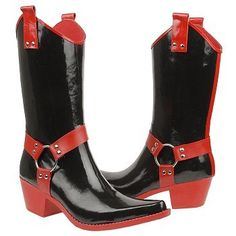 Bottes de pluie noir rouge Icon Shoes, Rain Boots, Wedges, Heels, Beautiful, Fashion, Black Rain Boots, Red, Heel