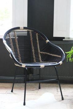 Capri Black & Natural Rattan Chair - Furniture - Garden